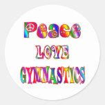 Gimnasia del amor de la paz pegatinas redondas