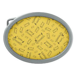 Gimnasia del amor del amarillo I Hebillas Cinturón Ovales