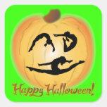 Gimnasia del feliz Halloween Calcomanías Cuadradas Personalizadas
