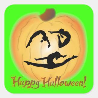 Gimnasia del feliz Halloween Pegatina Cuadrada