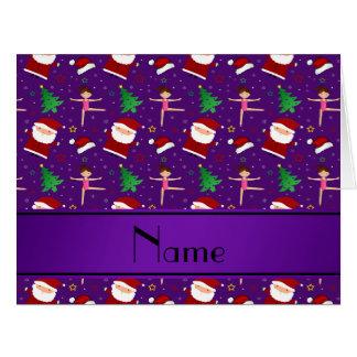 Gimnasia púrpura conocida de encargo santas del tarjeta de felicitación grande