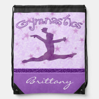 Gimnasia púrpura de la raya de la impresión del mochila