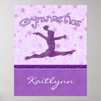 Gimnasia púrpura de la raya de la impresión del póster