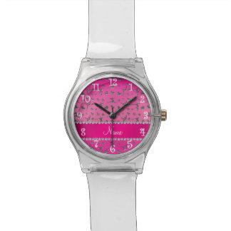 Gimnasia rosada de plata conocida personalizada relojes