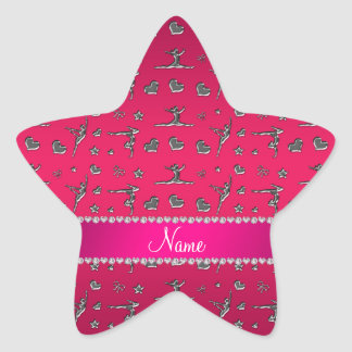 Gimnasia rosada magenta de plata conocida pegatina en forma de estrella