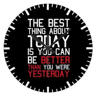 Gimnasio de motivación de la aptitud reloj redondo grande