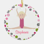 Gimnasta de la estrella en los rosas personalizado ornaments para arbol de navidad