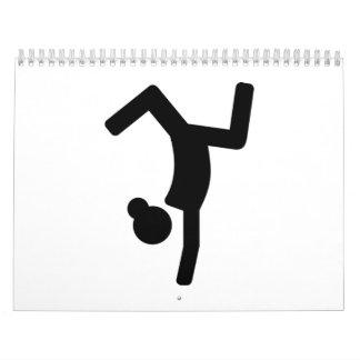 Gimnasta de los ejercicios de piso calendarios de pared
