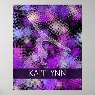Gimnasta de semitono en púrpura con el monograma póster