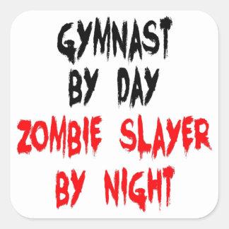 Gimnasta del asesino del zombi calcomania cuadradas personalizadas