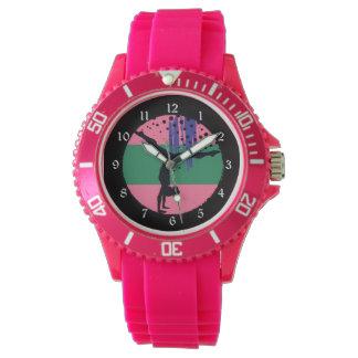 Gimnasta verde rosado del arte abstracto reloj de mano
