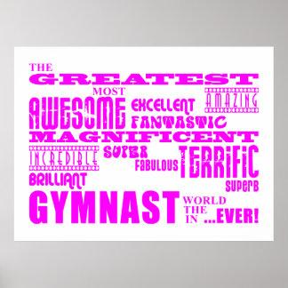 Gimnastas de los chicas Gimnasta más grande rosad Poster