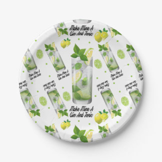 """Gin And Tonic Custom Paper Plates 7"""""""