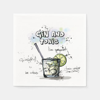 Gin and Tonic Drink Recipe Cocktail Napkin