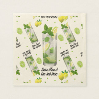 Gin And Tonic, Standard Cocktail Paper Napkins