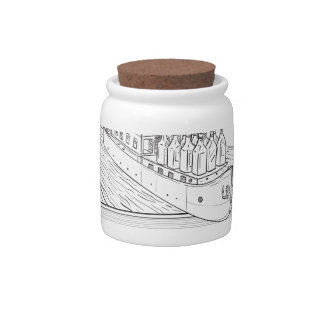 Gin Bottles on Barge River Oval Line Drawing Candy Dishes