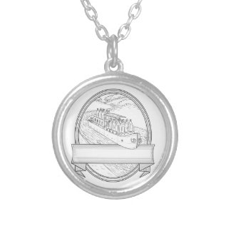 Gin Bottles on Barge River Oval Line Drawing Silver Plated Necklace