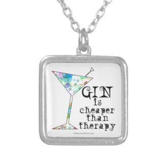 GIN is cheaper than therapy ` Square Pendant Necklace