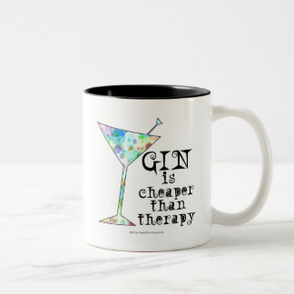 GIN is cheaper than therapy ` Two-Tone Coffee Mug