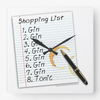 GIN LOVERS SHOPPING LIST SQUARE WALL CLOCK