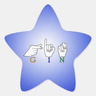 GIN NAME ASL FINGER SPELLED FEMALE STAR STICKER