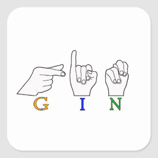 GIN NAME ASL FINGER SPELLED FEMALE SQUARE STICKERS