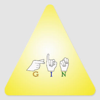 GIN NAME ASL FINGER SPELLED FEMALE TRIANGLE STICKER