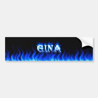 Gina blue fire and flames bumper sticker design. car bumper sticker
