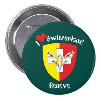 Ginebra, Genève Suiza Suisse Svizzera Button/ Pin Redondo De 3 Pulgadas