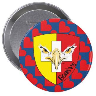 Ginebra, Genève Suiza Suisse Svizzera Button/ Pin Redondo De 4 Pulgadas