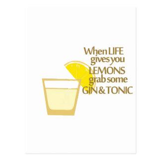 ginebra y tónico de los limones postal