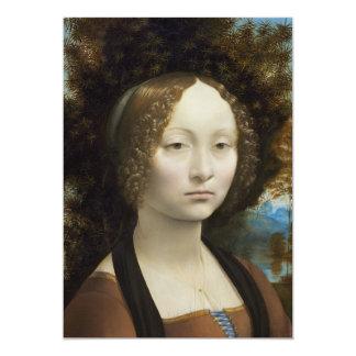 "Ginevra de Benci by Leonardo da Vinci 5"" X 7"" Invitation Card"
