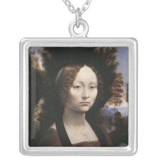 Ginevra de' Benci by Leonardo Da Vinci Square Pendant Necklace