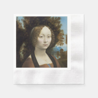 Ginevra de Benci by Leonardo da Vinci Paper Napkin