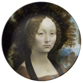 Ginevra de Benci de Leonardo da Vinci Plato De Cerámica