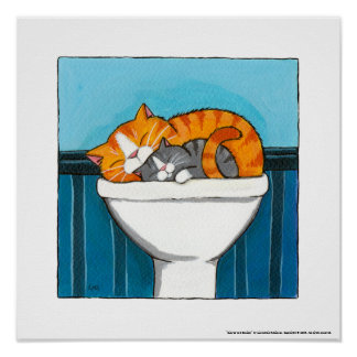 Ginger and Smokey - Whimsical Cat Art Print