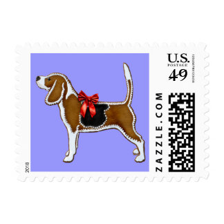 Ginger Bread Beagle Christmas Cookie Postage Stamps
