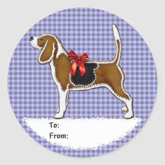 Ginger Bread Beagle Christmas Cookie Round Stickers