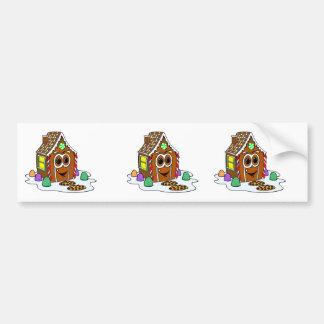 Ginger Bread House Cartoon Bumper Sticker