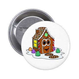 Ginger Bread House Cartoon Button
