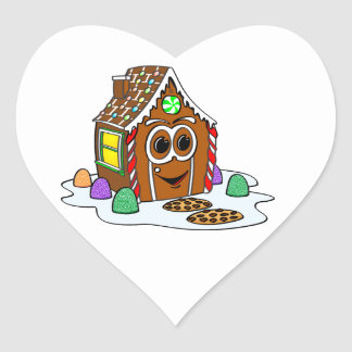 Ginger Bread House Cartoon Heart Sticker