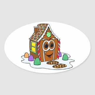 Ginger Bread House Cartoon Oval Sticker