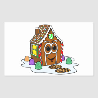 Ginger Bread House Cartoon Rectangular Sticker