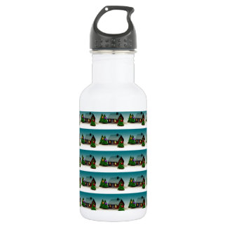 GINGER BREAD HOUSE FOR CHRISTMAS SANTA TREES WATER BOTTLE