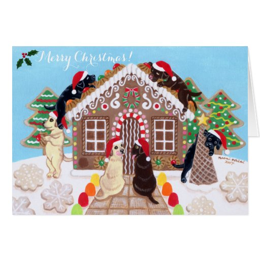 Ginger Bread House Labrador Christmas Cards