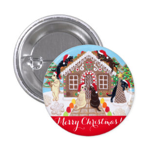 Ginger Bread House Labradors Painting Button