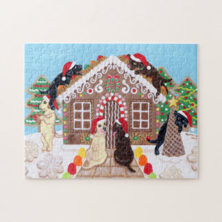 Ginger Bread House Labradors Painting Jigsaw Puzzle