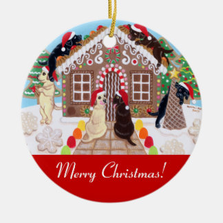 Ginger Bread House Labradors Painting Ornaments