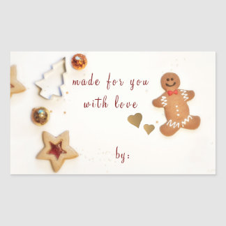 Ginger Bread Man Christmas Baking Gift Giving Rectangular Sticker