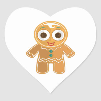 Ginger Bread Man Heart Sticker